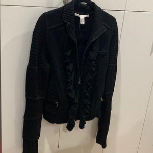 Diane Von Furstenberg black heavy moto sweater LG